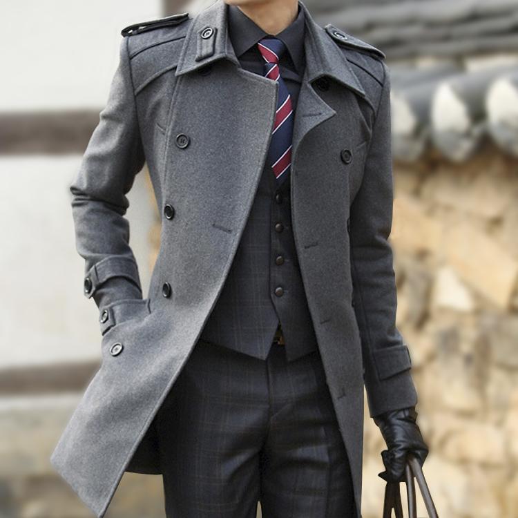 秋冬男士風衣中長款男式韓版羊毛呢子風衣男加厚修身毛呢外套男裝商品圖片