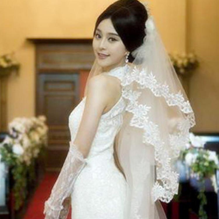 波浪花边3米大头纱 新款复古蕾丝花边新娘长头纱结婚头纱婚纱配饰商品图片