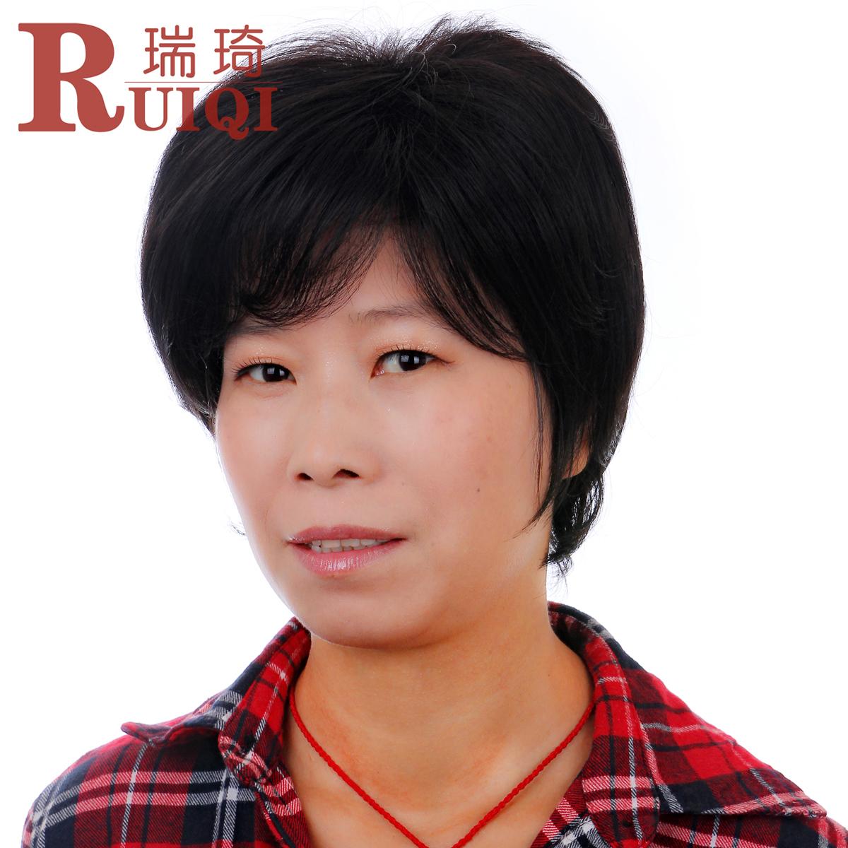 瑞琦中老年假发 整顶短发套直 老人女士妇女自然送妈妈的逼真发型商