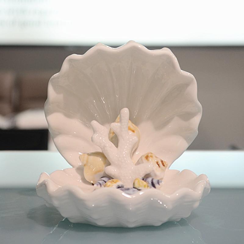 地中海陶瓷摆件现代贝壳装饰工艺软装珊瑚海洋海螺家居首饰盒摆设商品图片