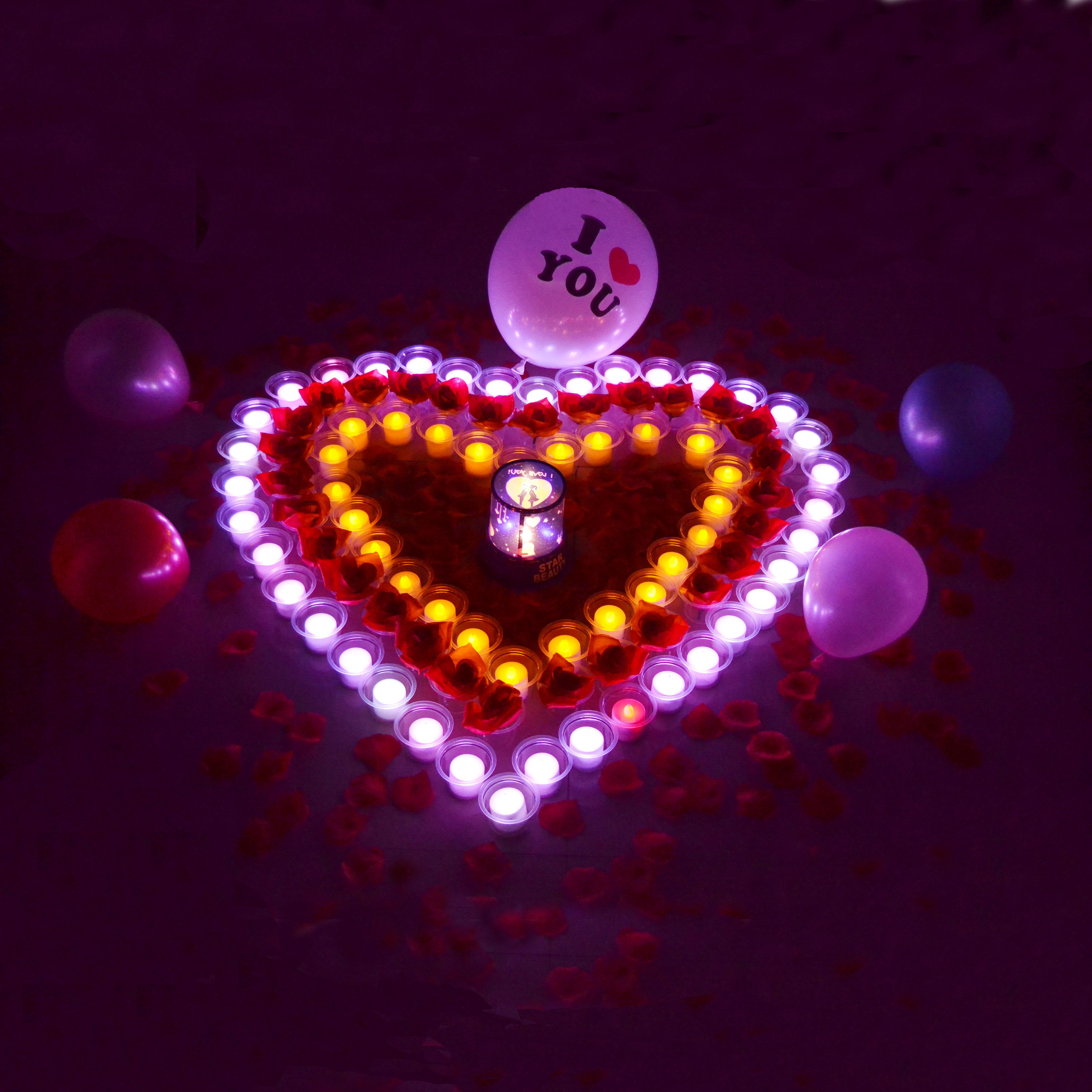 心形蜡烛浪漫套餐包邮 情人礼物 生日表白求婚遥控电子蜡烛灯批发商品图片