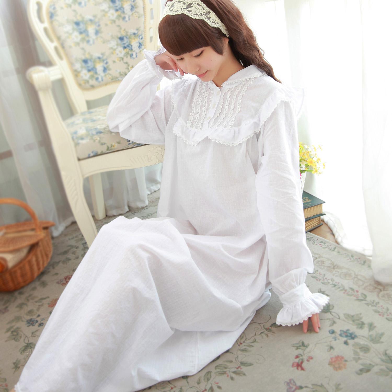 attic secret 全棉长袖罗马假日公主睡裙欧式古典宫廷睡衣长裙商品图片