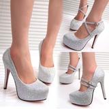 夏银色高跟鞋 细跟圆头时尚单鞋显瘦白色婚纱鞋优雅约会水晶女鞋