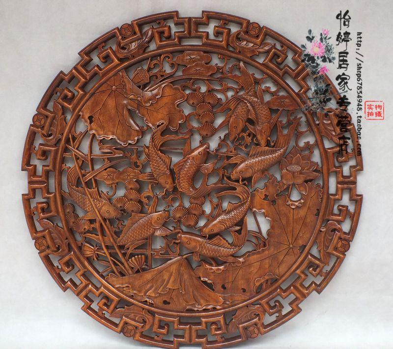 新款东阳木雕挂件 雕刻工艺品 居家中式壁挂圆形荷花鱼背景墙壁饰商品
