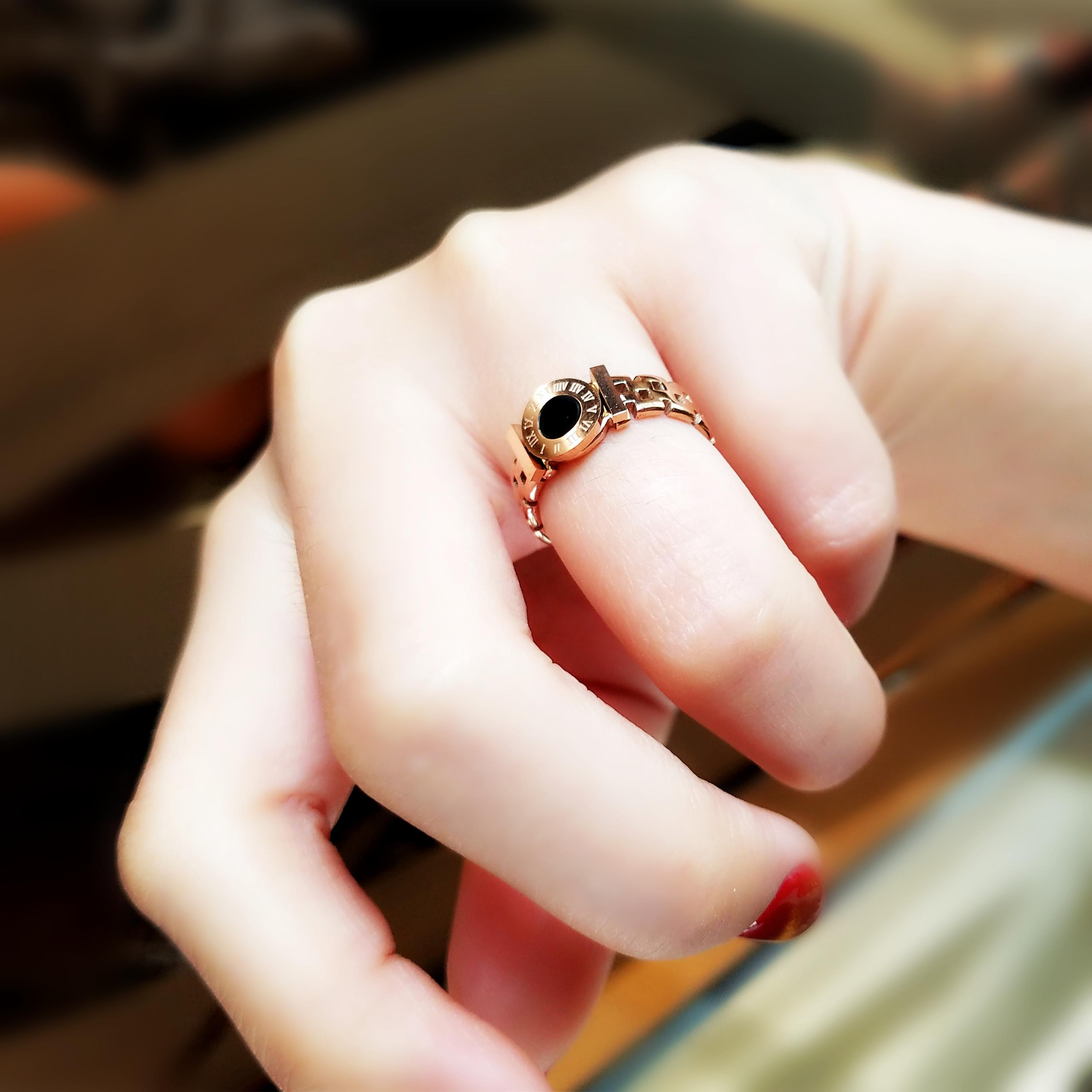 钛钢个性时尚手表戒指女不掉色食指中指无名戒潮流简约指环大气商品图图片