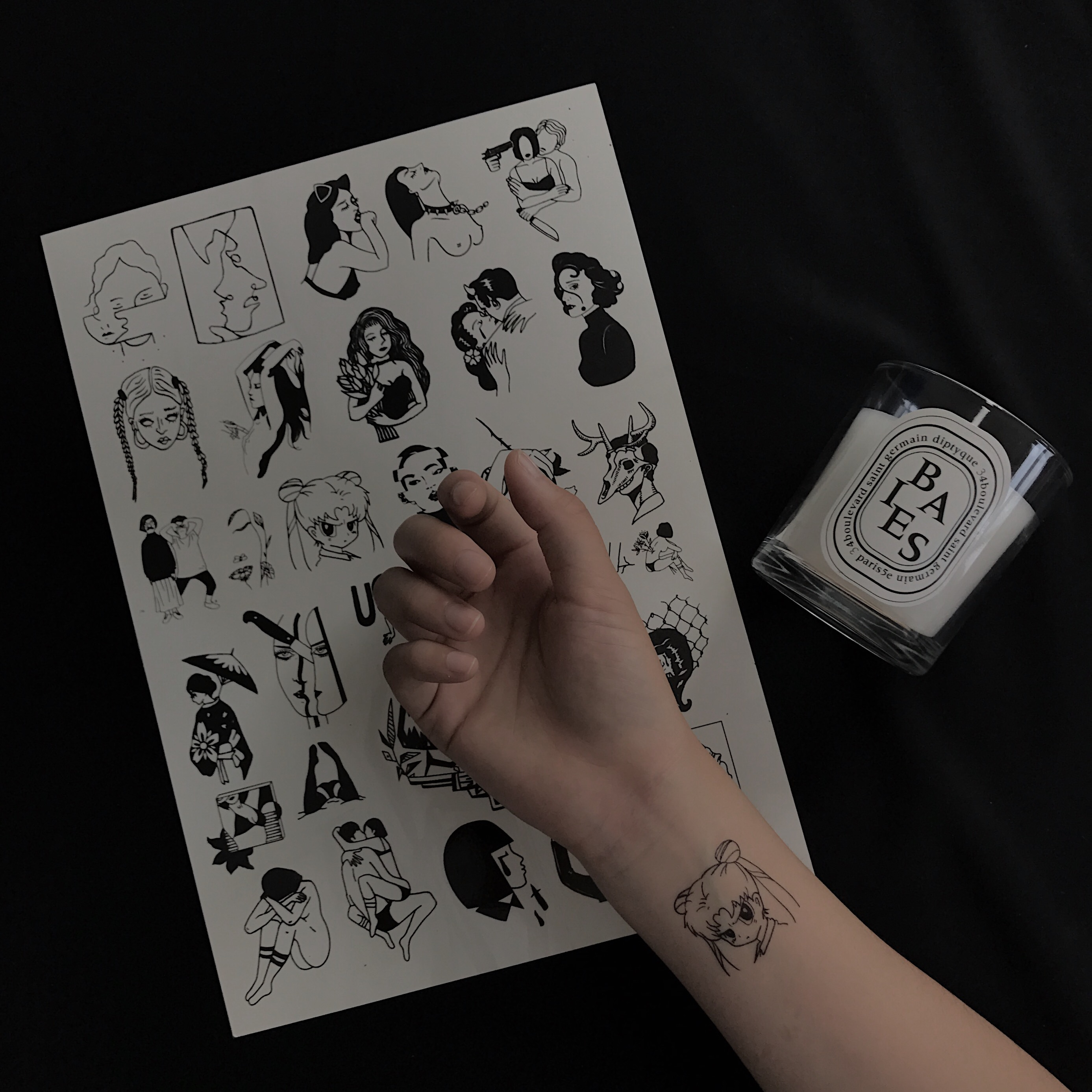 p1nka / 新款ins美少女swag线条纹身贴防水持久超大张四张包邮商品