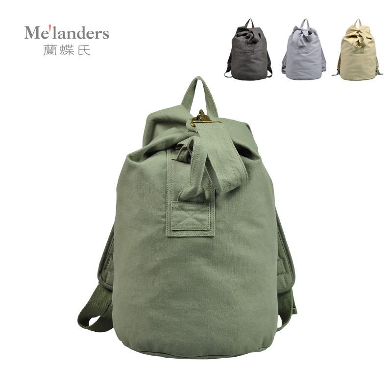 新款时尚简约男士帆布书包运动双肩背包户外马桶包桶包休闲背包女商品图片