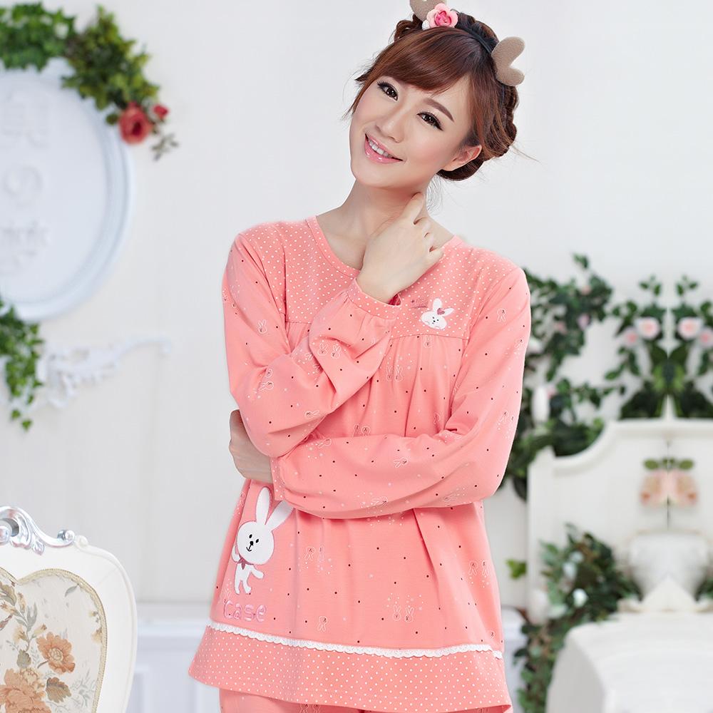 女人睡衣春秋夏季女士纯棉长袖可爱卡通家居服全棉加大码套装韩版商品