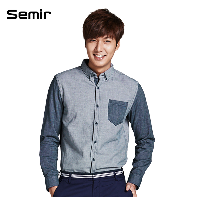 森马男装2014春装新款男士拼接休闲衬衫长袖青少年韩版男长衬衣商品图片