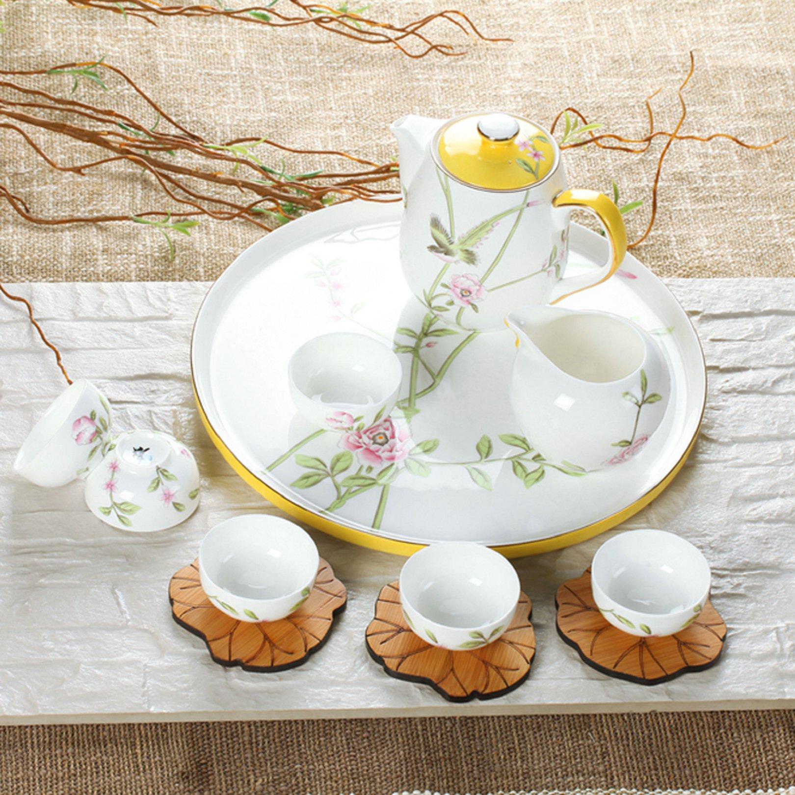 陶园梦茶具套装手绘整套高档唐山骨瓷茶杯茶壶圆茶盘6人家用包邮商品