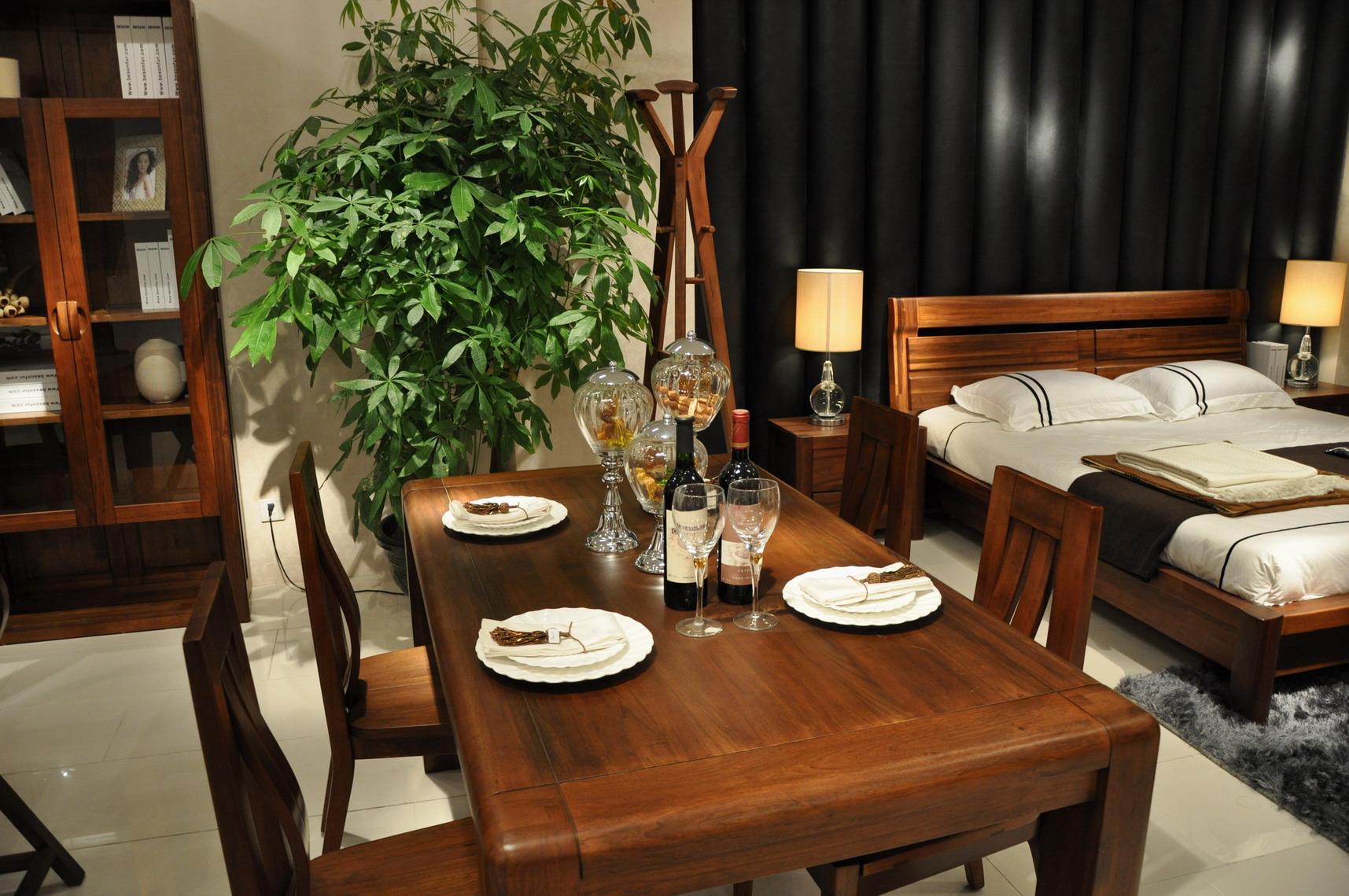 柏森家具柏森ld系列胡桃木家具t311餐台实木餐桌 饭桌子专柜正品商品图片