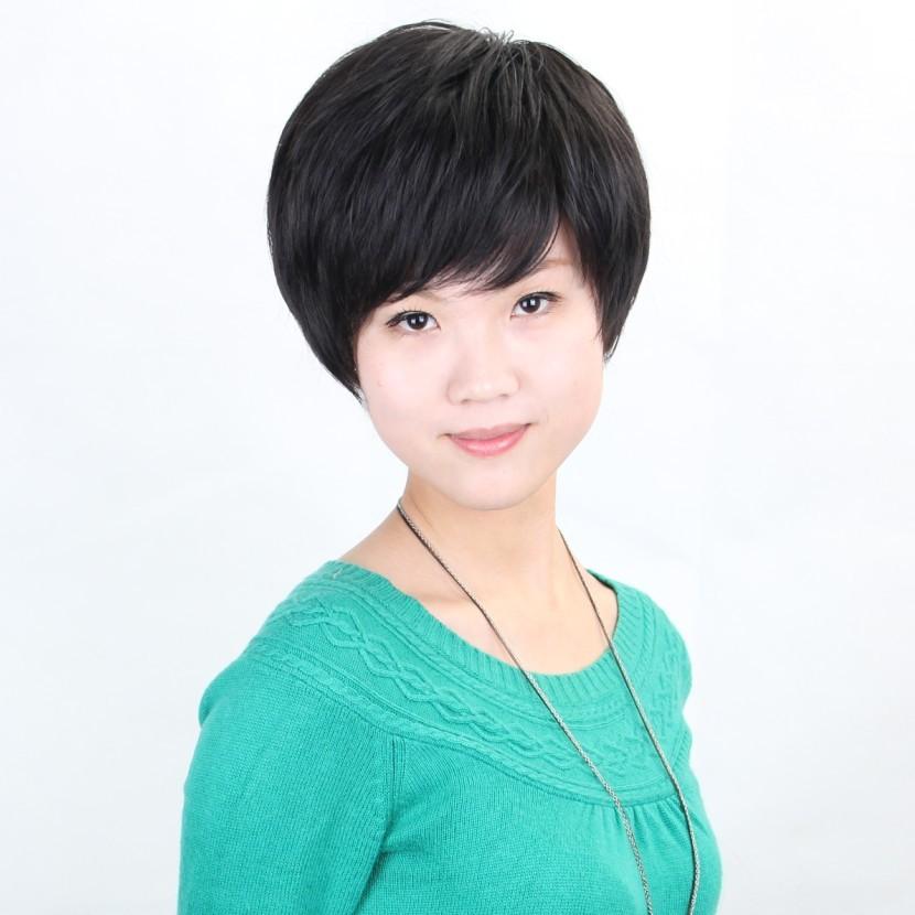 假发 短直发 斜刘海短碎发 短发 哑光高温丝中老年女士假发套商品图片图片