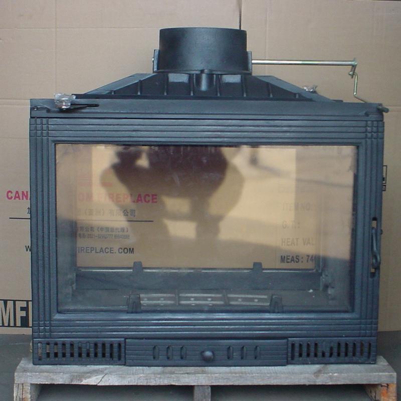 欧式铸铁壁炉 双面玻璃真火壁炉 取暖炉子 真火炉子 内嵌炉芯101d商品图片