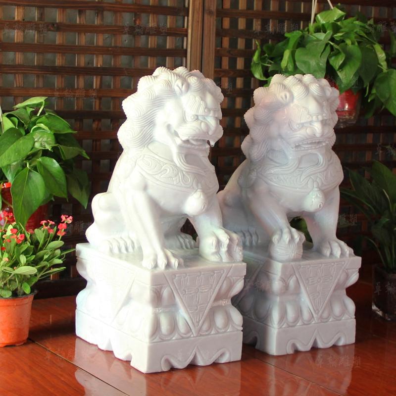 石雕汉白玉石狮子一对家用看门镇宅精雕墓地小石狮子辟邪门口摆件商品图片
