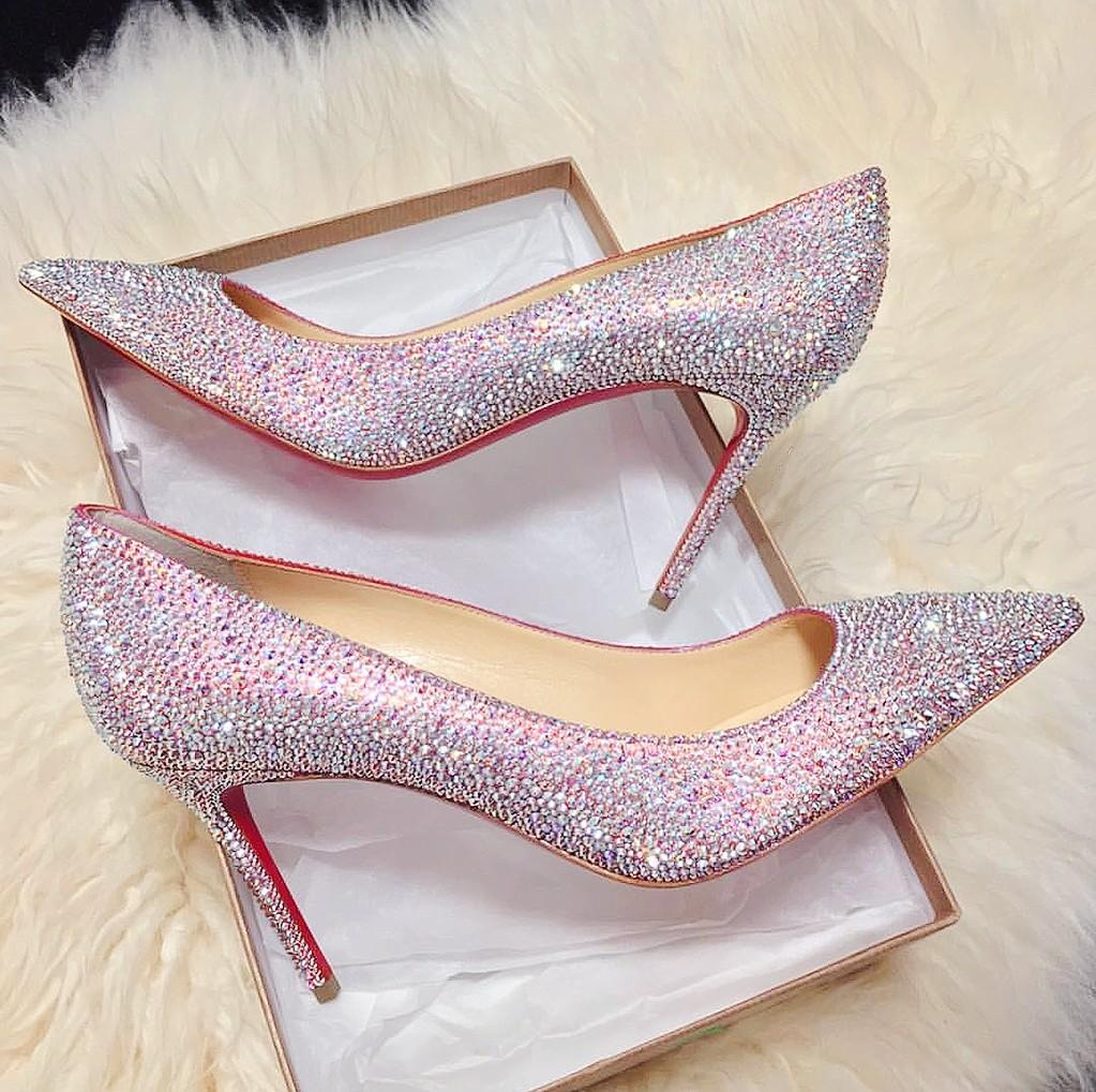 cl明星同款夜店性感女鞋红底高跟鞋细跟婚礼尖头粉水晶钻单鞋婚鞋商品