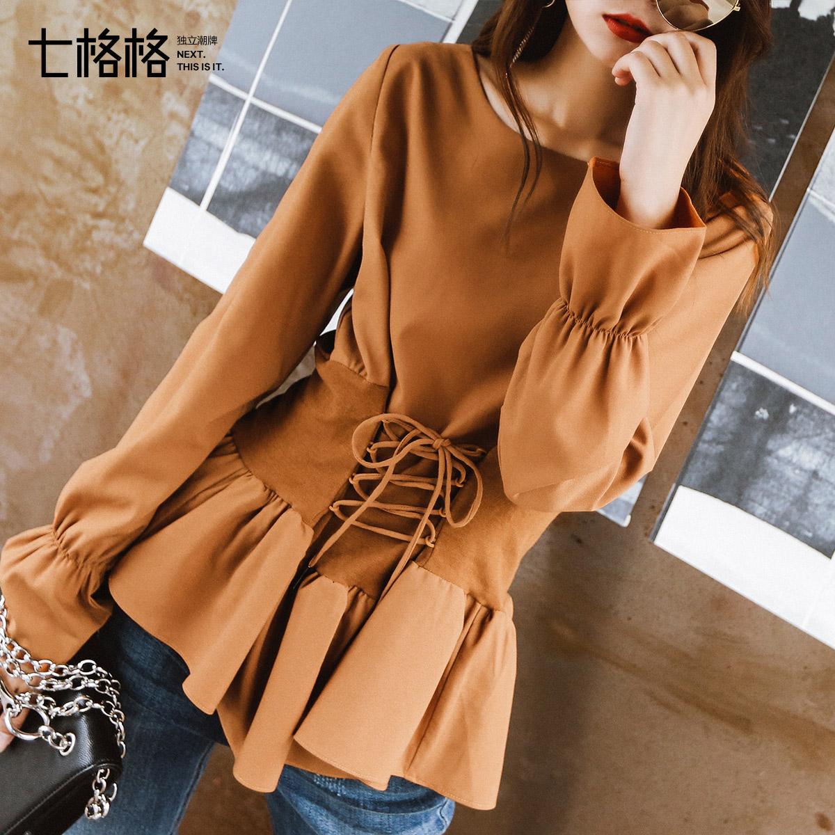 雪纺衬衫上衣长袖喇叭袖女装2018新款秋季潮韩版裙摆收腰时尚小衫商品