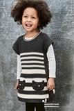 英国Next正品代购童装 女童女宝宝黑色小猫毛衣针织连衣裙 背心裙