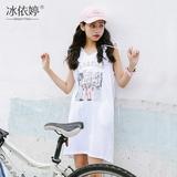 夏季新款印花中长款外套女薄款韩版宽松无袖连帽套头卫衣学生潮bf