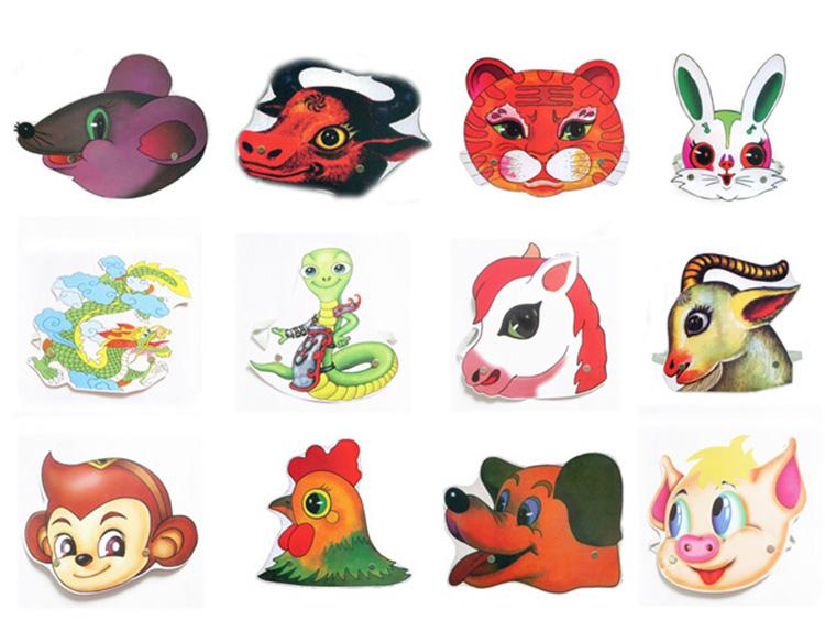 老款十二生肖动物头饰 儿童表演道具 幼儿园课堂教学用品舞会面具商品图片