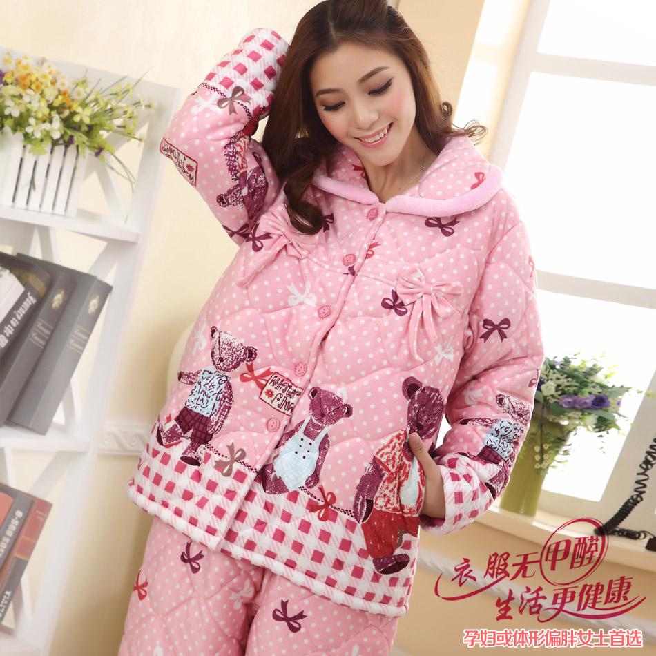 冬天孕妇睡衣加厚珊瑚绒夹棉睡衣女加肥家居服套装产后睡衣月子服商品