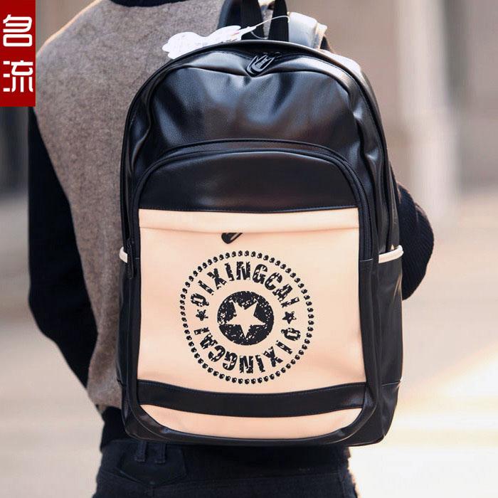 防水潮流酷男士双肩包中学生书包pu皮质黑色背包休闲旅行韩版包包商品图片
