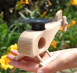 科普益智木玩具直升机玩具科学实验商品旋转小v科普模型飞机太阳开木制游戏图片