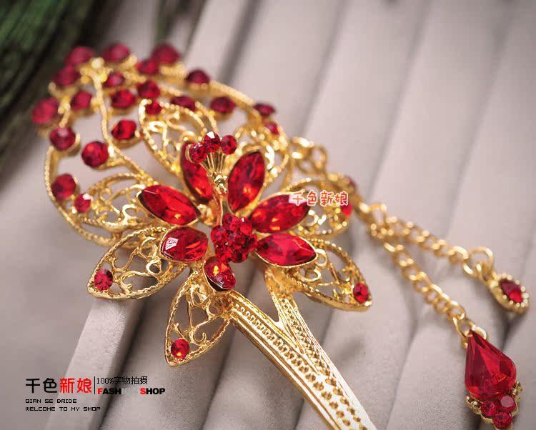 千色新娘头饰中式微光流苏发簪步摇红色结婚发饰古装礼服旗袍配饰商品图片