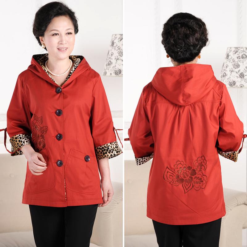 中老年女裝外套媽媽裝2013春秋新款大碼風衣中袖上衣夾克夏短外衣商品圖片