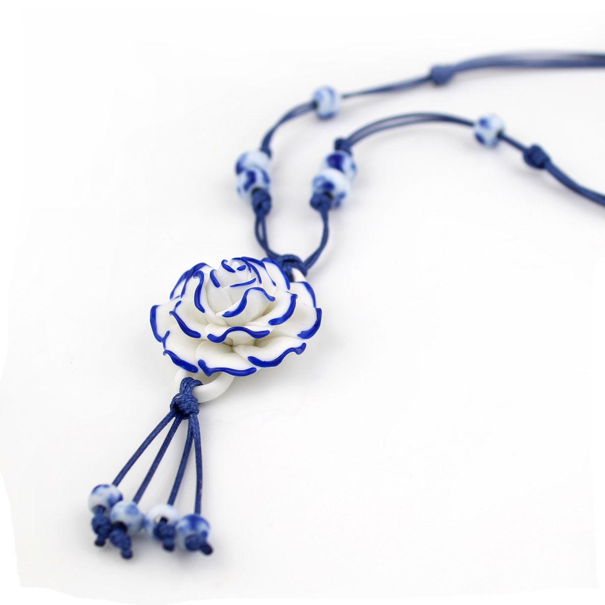 手上功夫景德镇原创青花瓷玫瑰花项链毛衣链女民族风饰品礼物包邮商品