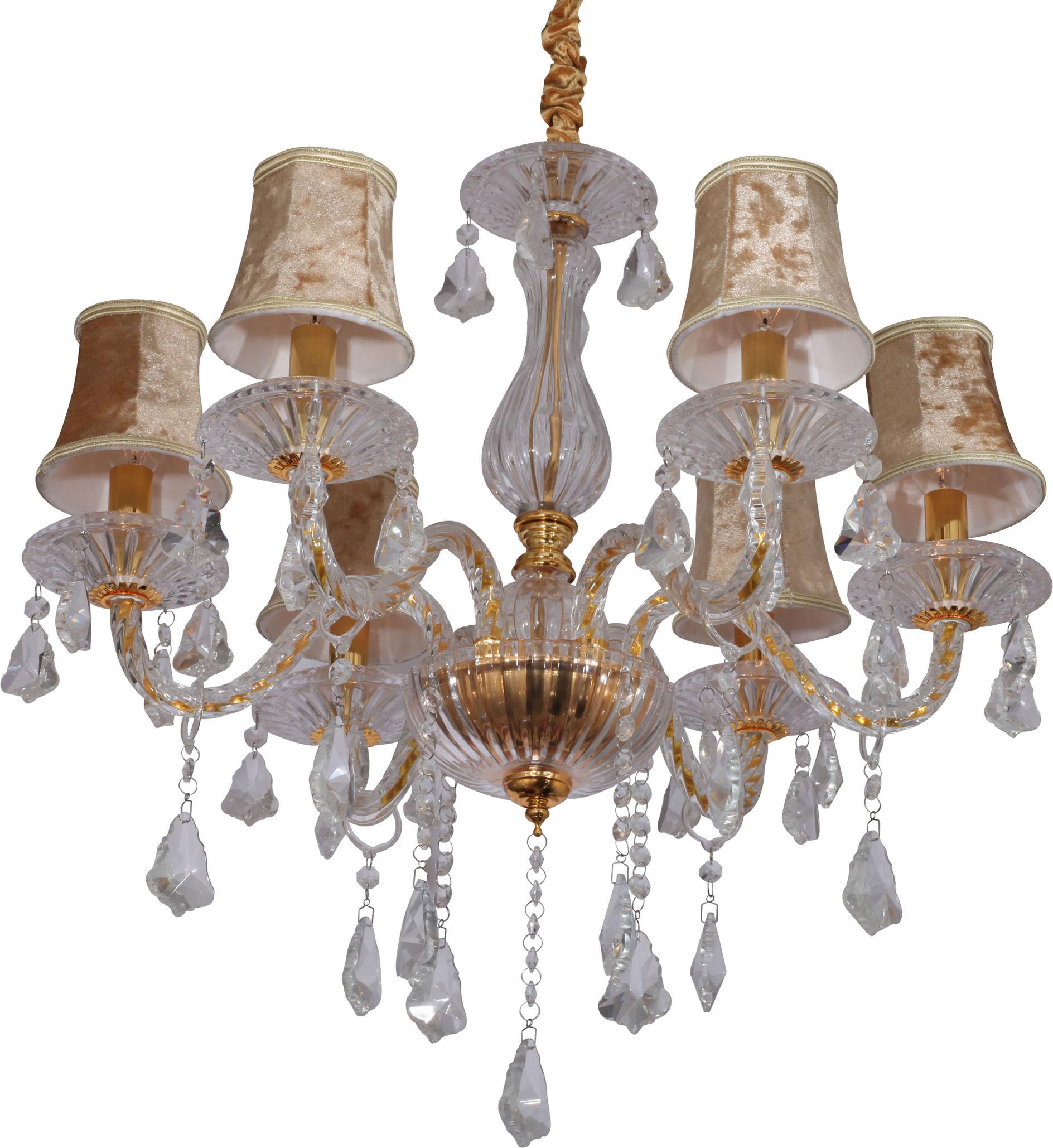 辉煌限量欧式现代餐厅吊灯清光色布艺灯 客厅水晶灯 玻璃蜡烛灯饰商品图片