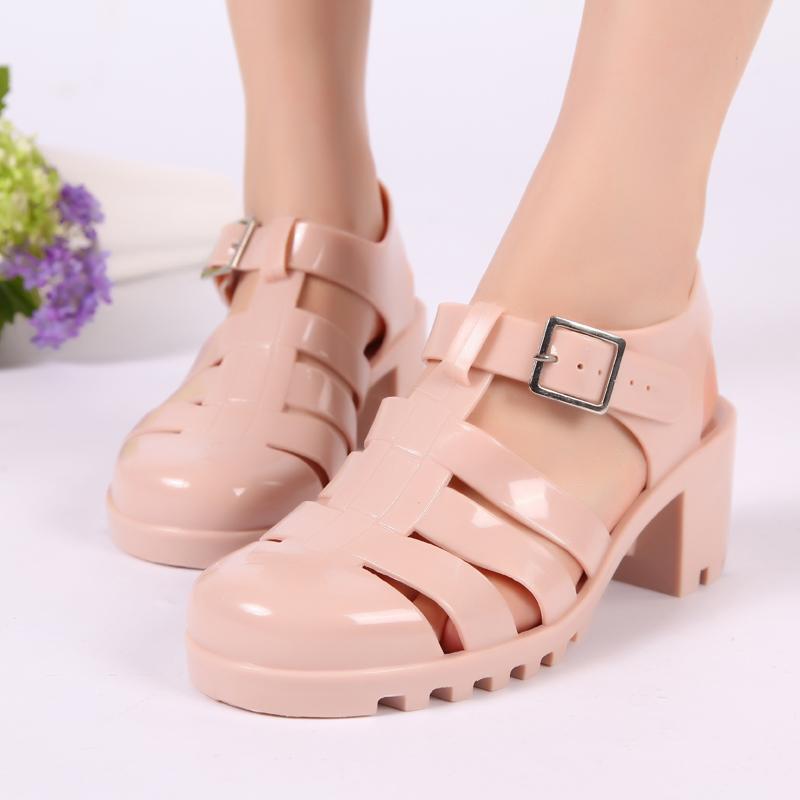 罗马鞋坡跟凉鞋_包邮洞洞鞋坡跟凉鞋高跟 鞋罗马鞋凉鞋 塑料水晶鞋果冻