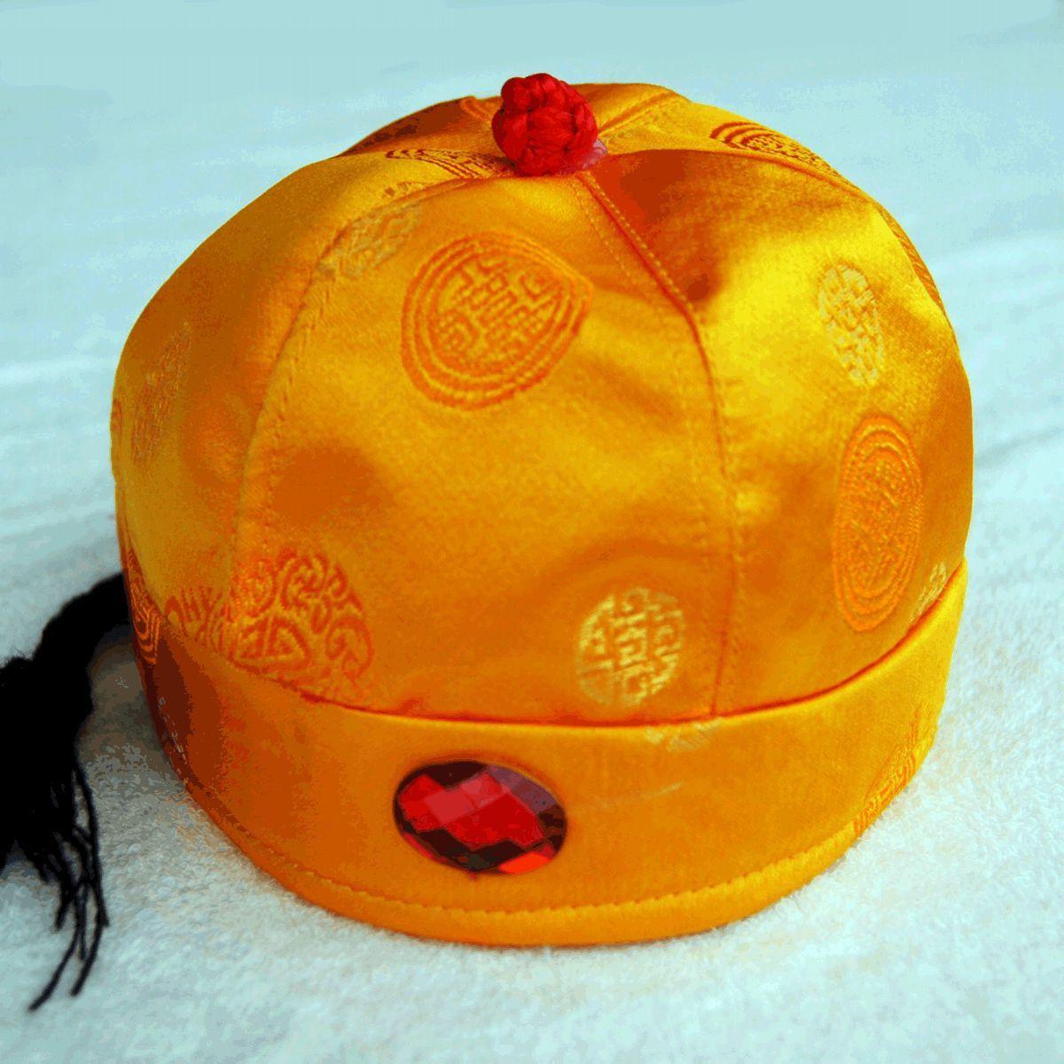 唐装瓜皮帽阿哥帽太子帽儿童唐装皇帝帽节日礼服帽子 金黄商品图片