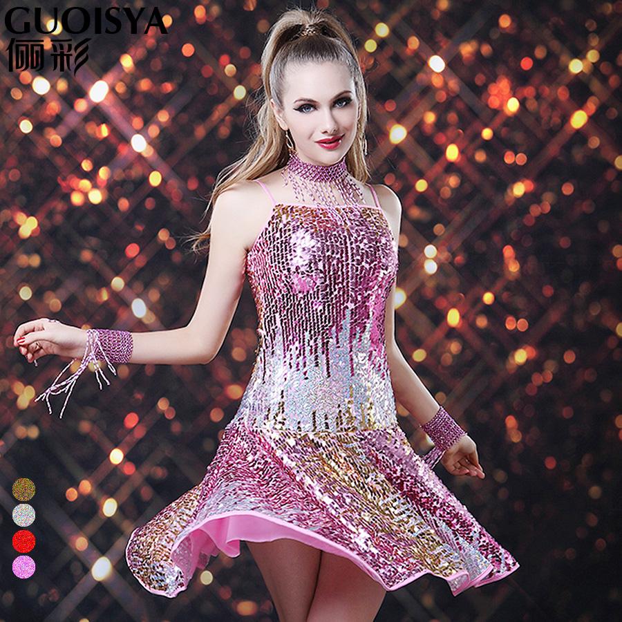 2014新款亮片吊带拉丁舞爵士舞演出服 sasa排舞表演服装 成人女款商品
