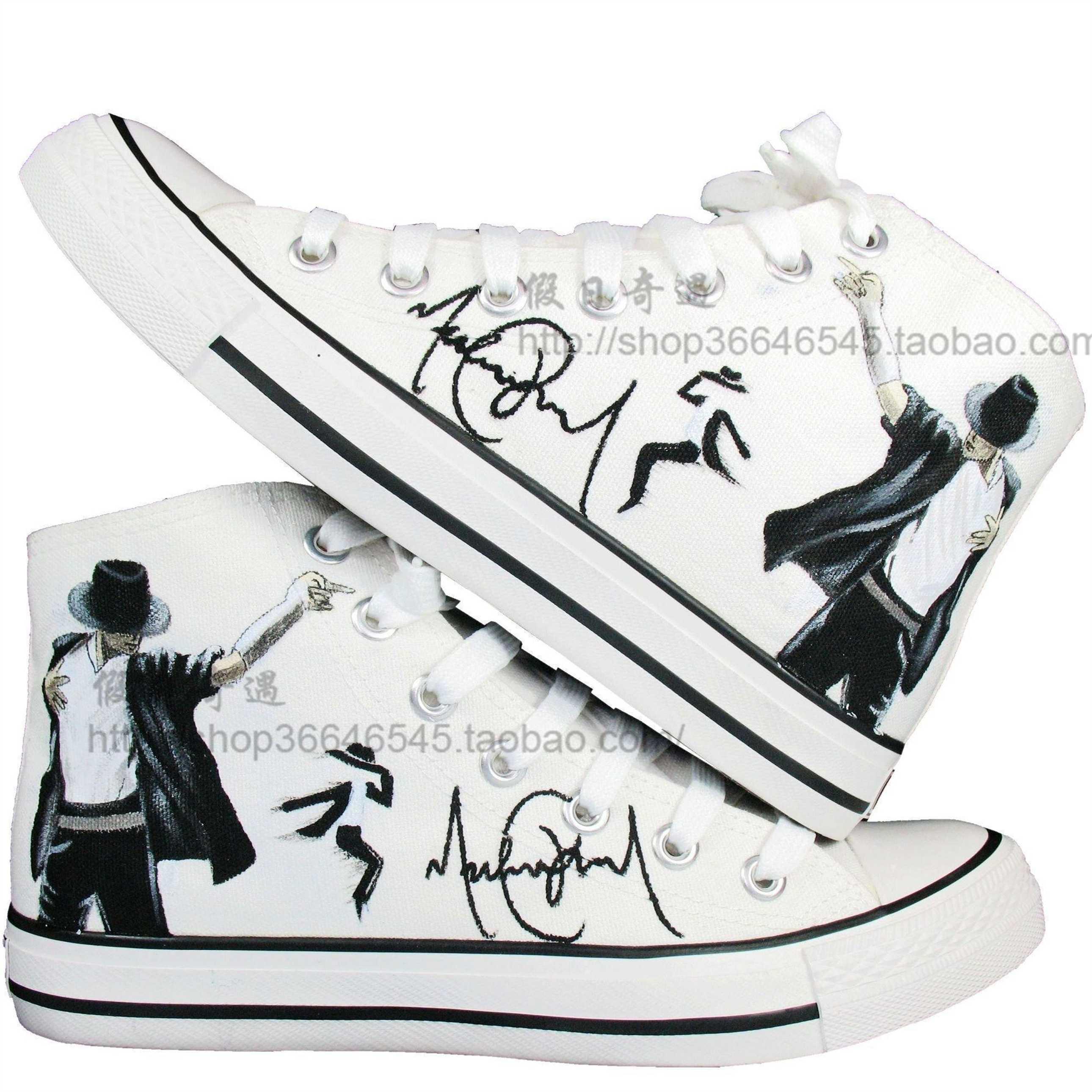 手绘鞋 mj迈克尔杰克逊大码男鞋高帮帆布鞋 情侣鞋涂鸦鞋板鞋潮鞋商品图片