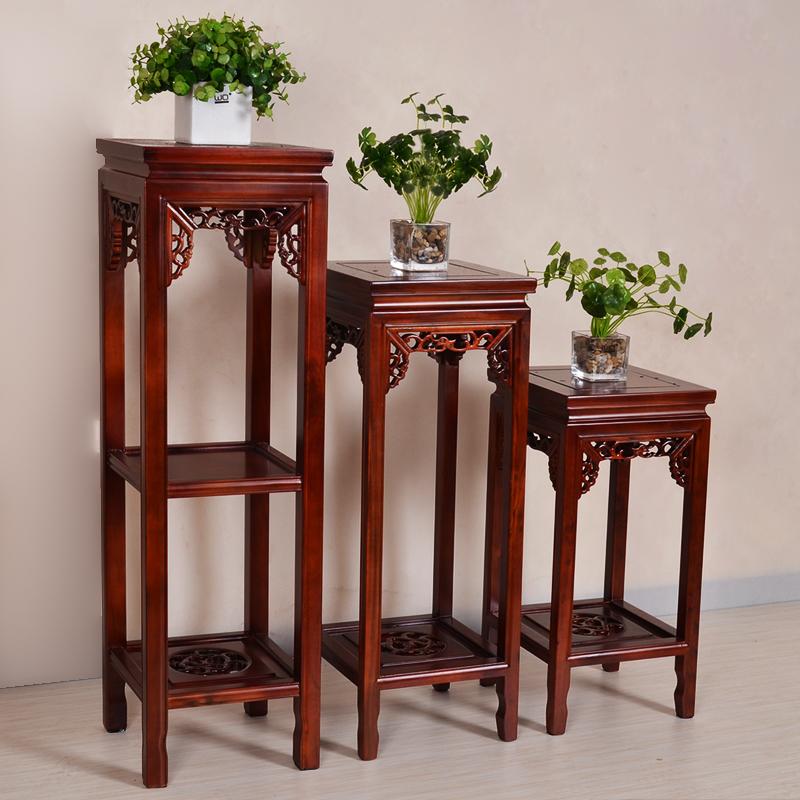 仿古中式方1米花架实木客厅阳台榆木花架子多层落地绿萝木质花盆商品图片