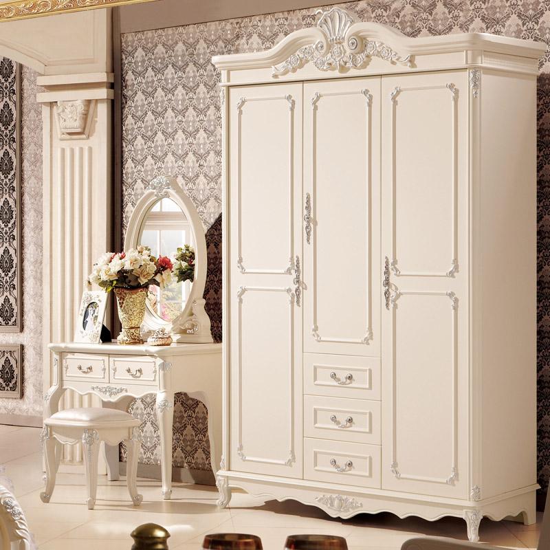 欧式小户型儿童成人三门衣柜 白色法式实木衣柜立柜衣橱卧室家具商品图片