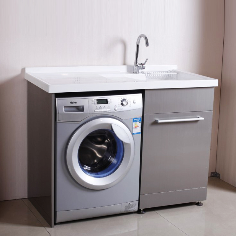不锈钢洗衣柜带搓衣板 人造石台面 滚筒洗衣机柜组合 阳台商品图片图片