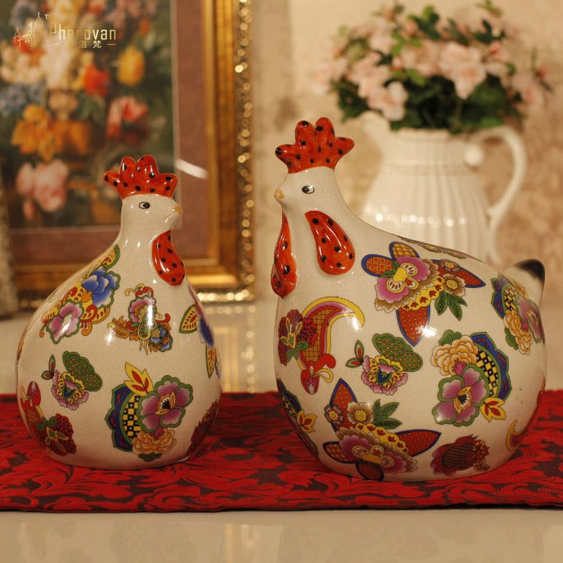 家居饰品景德镇陶瓷摆件欧式工艺品 十二生肖现代简约发财鸡对鸡商品图片
