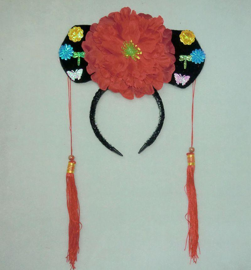 成人小孩古装表演造型道具-妃子古代公主头饰/格格帽g1x342大红商品图