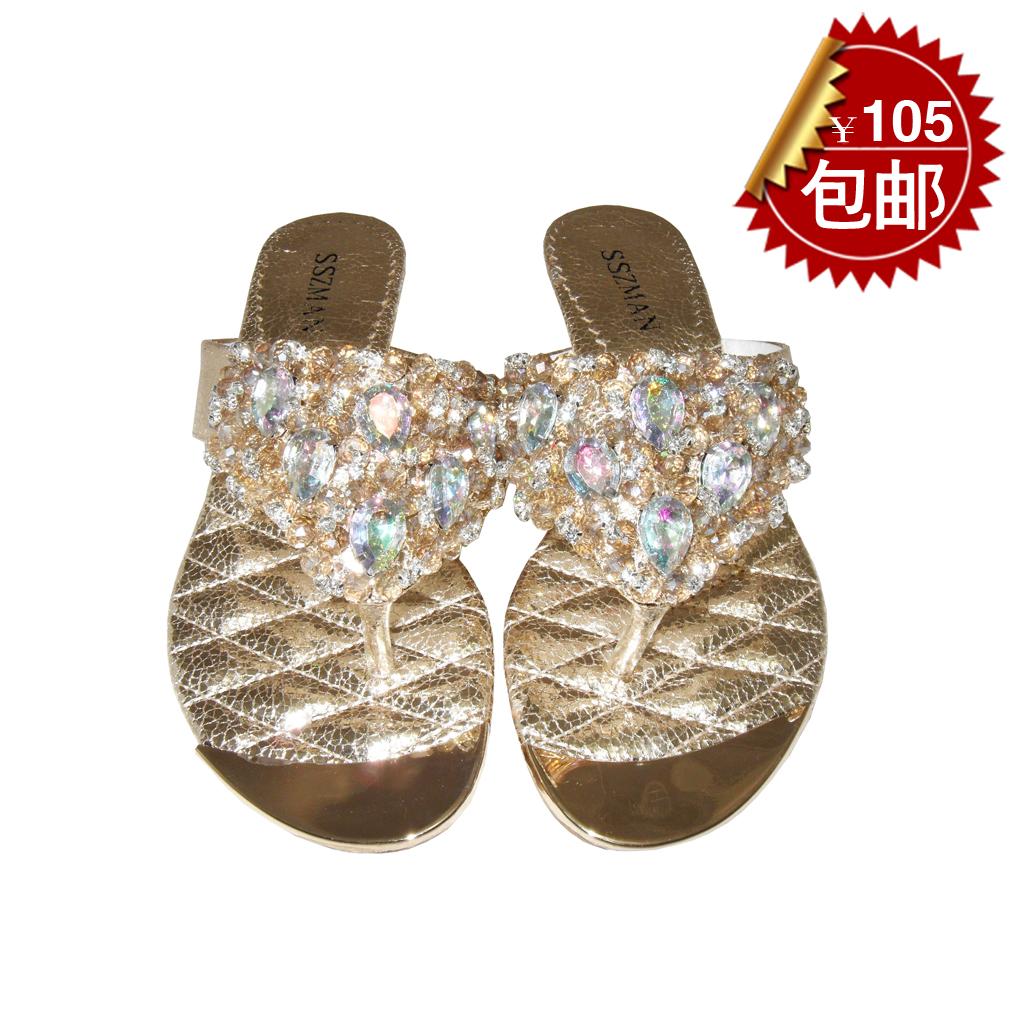 时尚姿蔓女鞋夹趾女凉鞋女凉拖平跟水钻凉鞋粗跟包邮潮2013新款28商品