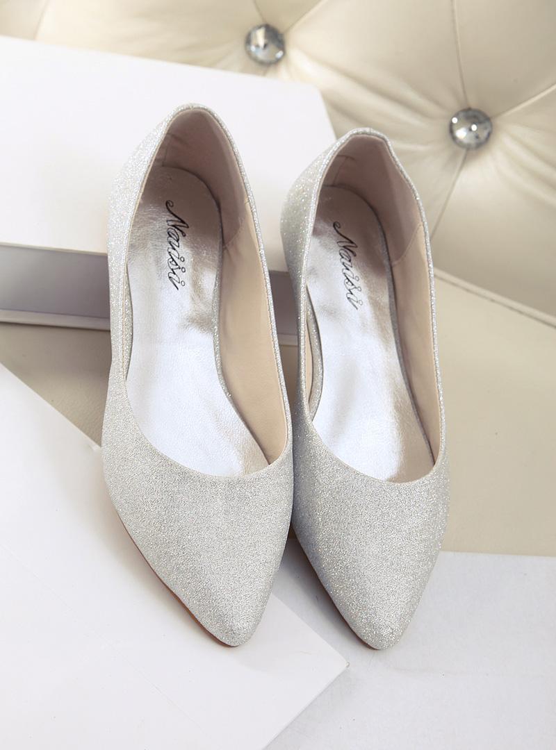 欧洲站 新款尖头平底单鞋蓝色银色芭蕾鞋大码平跟伴娘鞋女鞋商品图片
