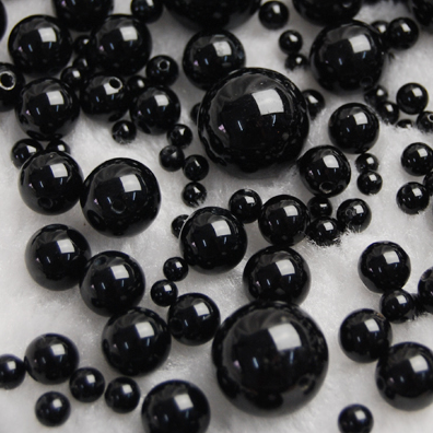 石块黑手链散珠散装圆珠aaa珠子水晶4-10mmdiy串商品饰品配件天然花岗岩玛瑙图片