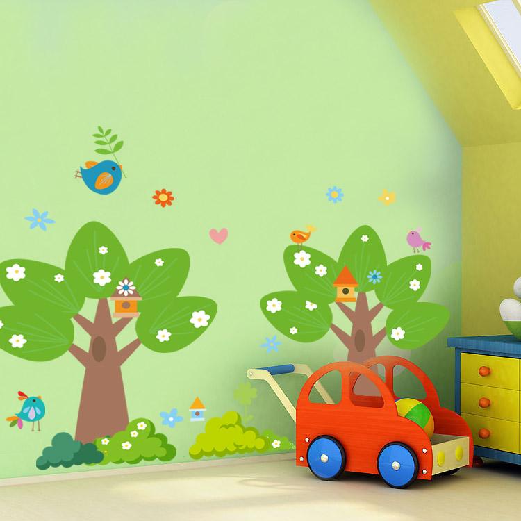 特价包邮卡通儿童房教室布置幼儿园可移除墙贴纸贴画两颗大树商品图片