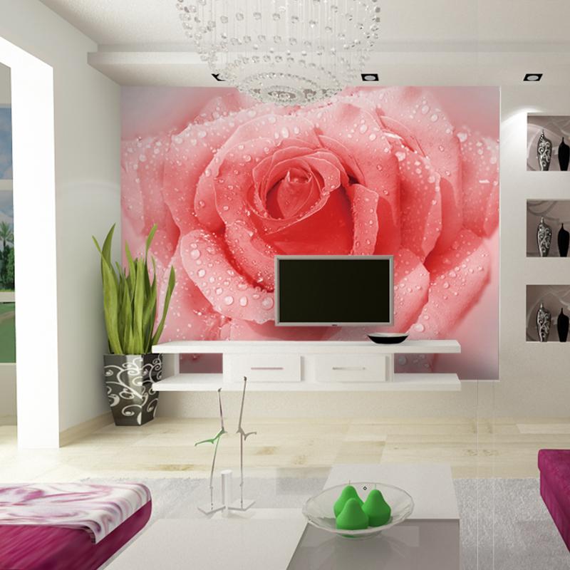 大型3d立体壁画客厅电视墙背景墙纸壁纸卧室床头壁画浪漫粉色玫瑰商品