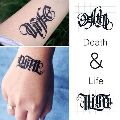 英文贴纸主流字体哥特⊙life市场上纹身广告设计软件图片