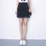 春夏季韩版高腰牛子裙子A型流苏牛仔半裙包裙A字短裙包臀半身裙女