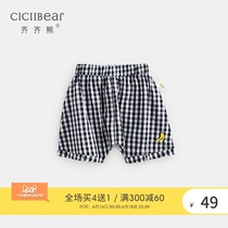Qi Qi bear summer boys and girls plaid embroidered cotton casual shorts infant baby loose pants thin section