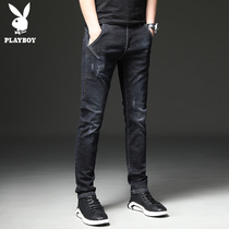 Playboy men's jeans stretch new slim feet pants Korean trend casual long pants male spring