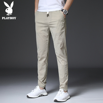 Playboy casual pants men's pants slim pants Korean version of the trend of small pants Wild 9 points men's pants summer