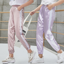 Sports pants female Summer 2019 new chiffon Korean loose dove pants casual pants anti-mosquito Ice Silk cool pants